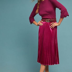 NWT Anthropologie Maeve Pleated Velvet Skirt